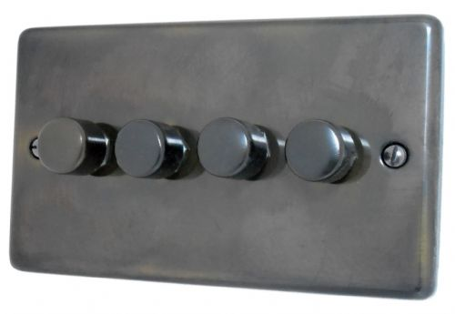 G&H CAN14 Standard Plate Polished Aged Brass 4 Gang 1 or 2 Way 40-400W Dimmer Switch